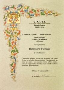 attestato del Premio Gatal teatro Giovani 2013/14