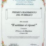 attestato gradimento del Pubblico 2° memorial Giordano Paini