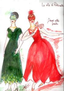 bozzetto del costume delle Dame della festa