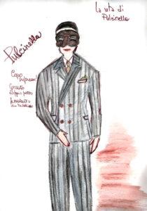 bozzetto del costume di Pulcinella