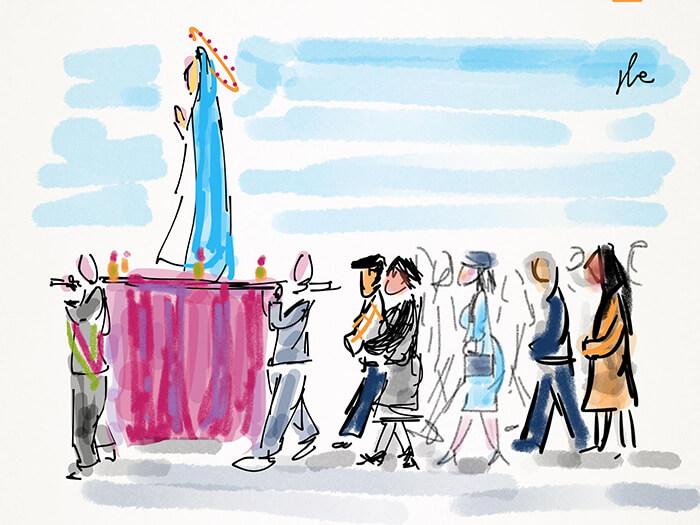 bozzetto per la scena della processione